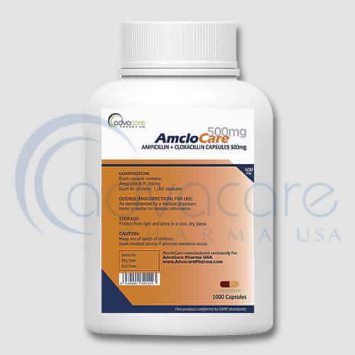Bottle of Ampicillin + Cloxacillin Capsules