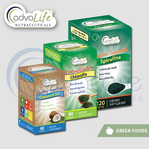 Green food supplements packaging